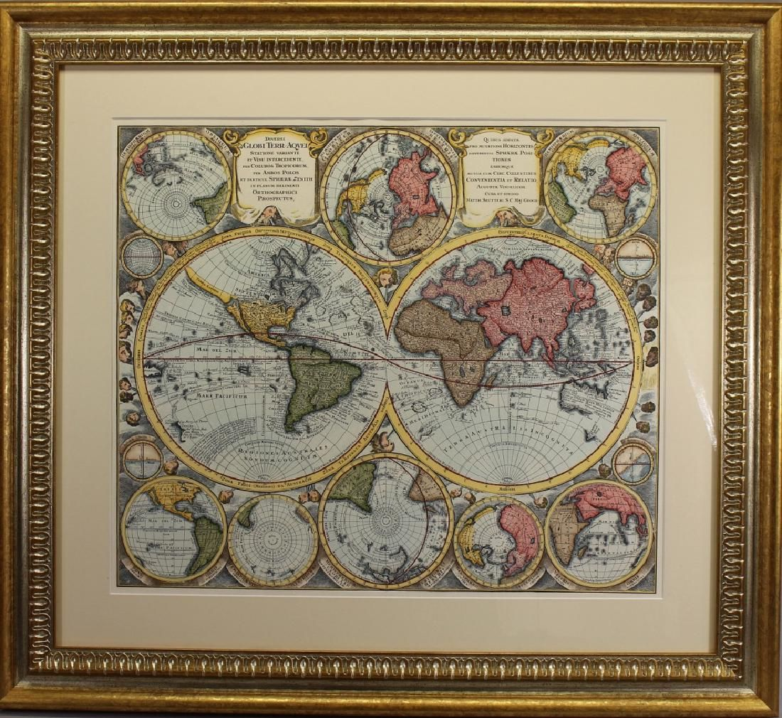 Hand Colored World Map, Framed