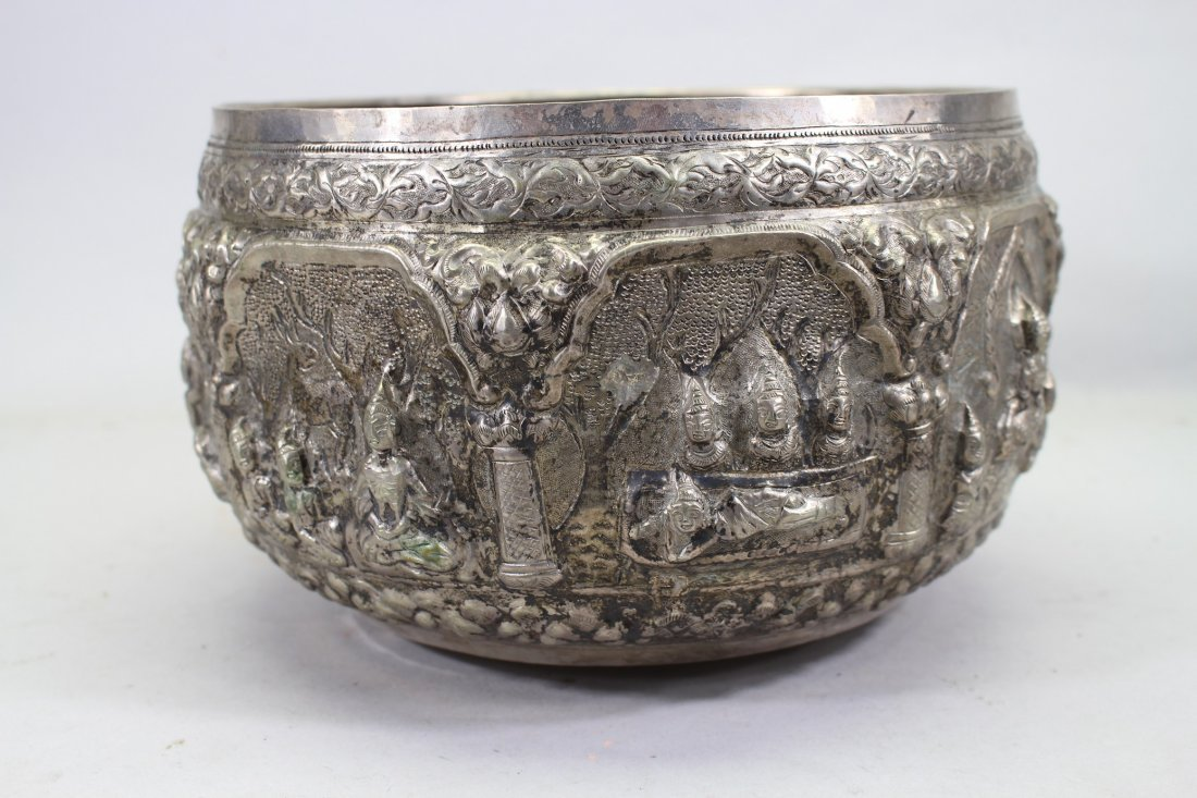 Nepalese Figural Silver Bowl