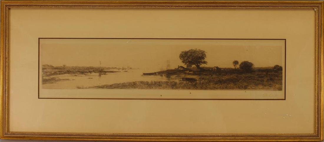 Antique Signed Etching of a Village Near a River