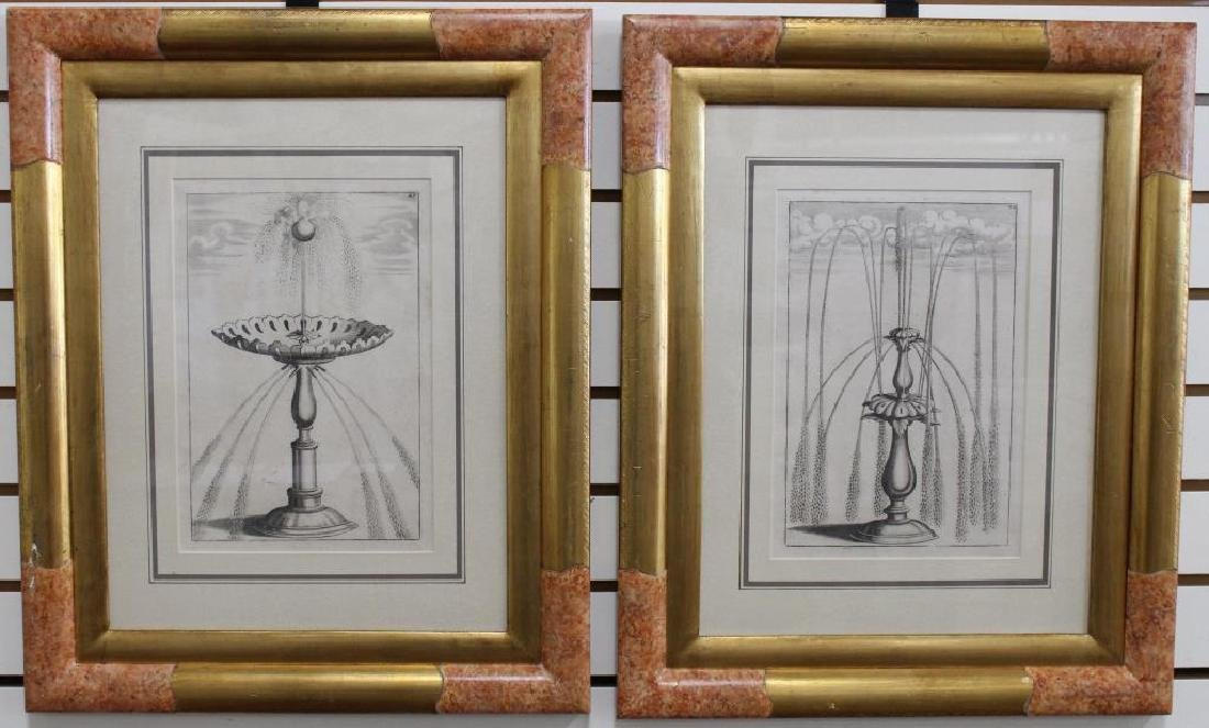 Pair, Antique Engravings of Fountains