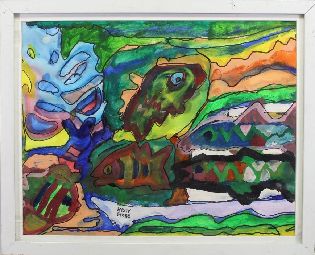 Kelly Stone, Mixed Media Painting of Fish
