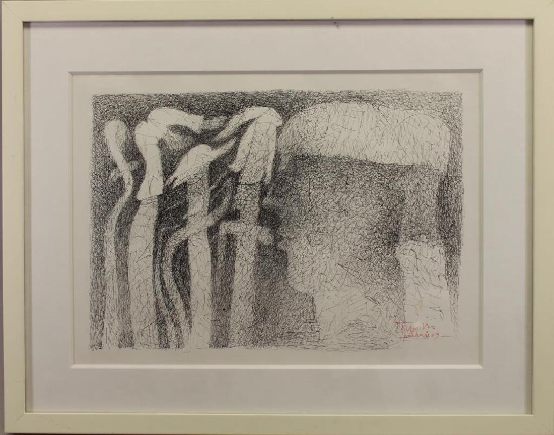 20th C Figural Ink Drawing, Signed