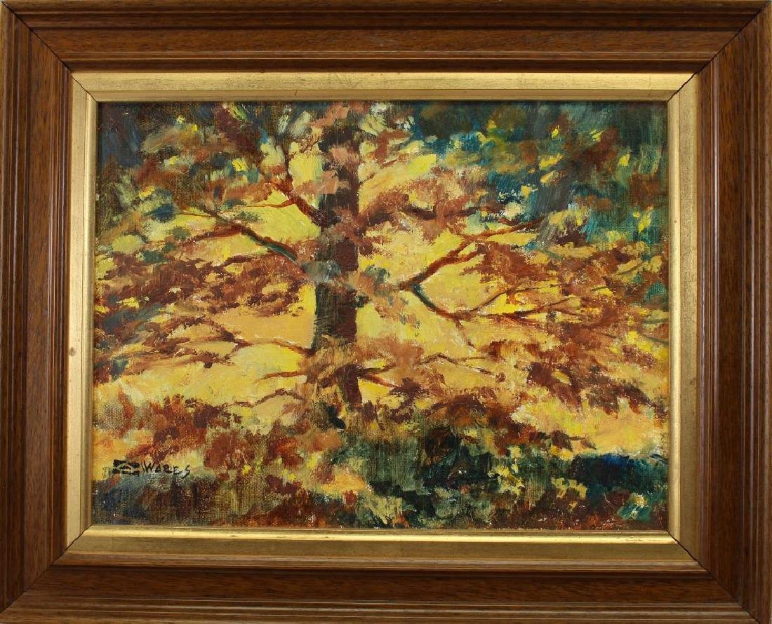 American School Painting of Autumnal Tree, Signed