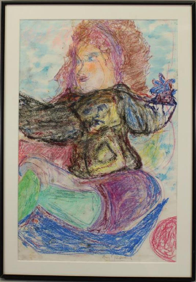 20th C Colored Pencil Abstract Woman Figure, Signd