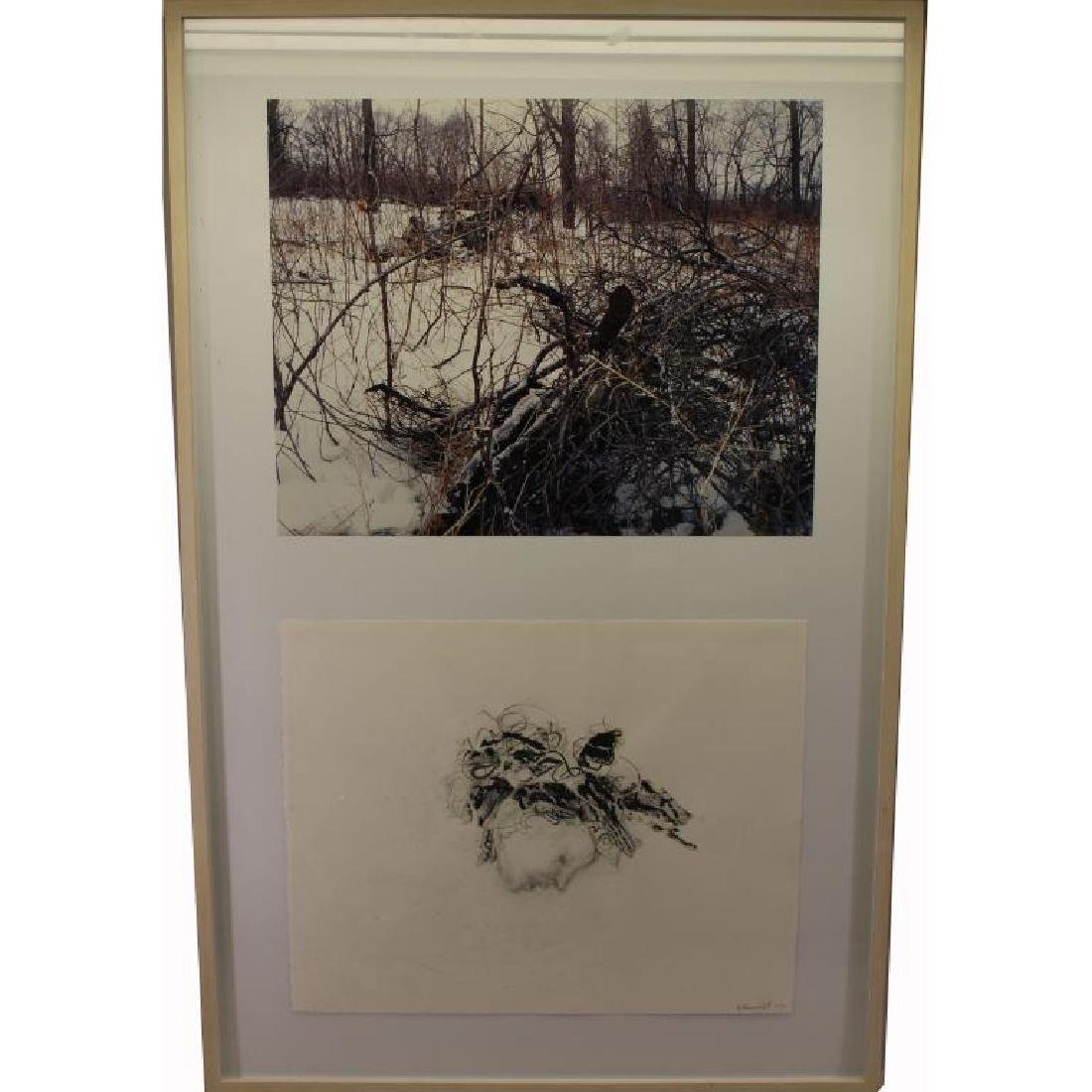 20th C. Signed 2-part Lithograph/Mixed Media