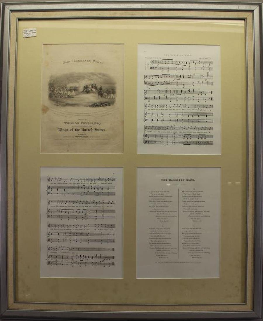 """4-Part Framed Music Sheet, """"The Harrison Song"""""""