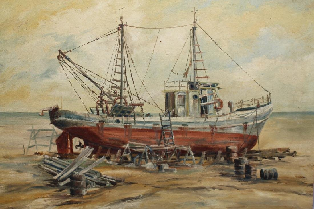 20th C. Signed Beach Fishing Boat
