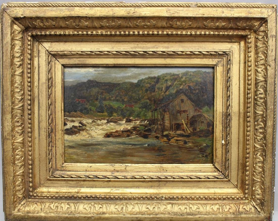 Signed, 19th C. Painting of Mill Along a River
