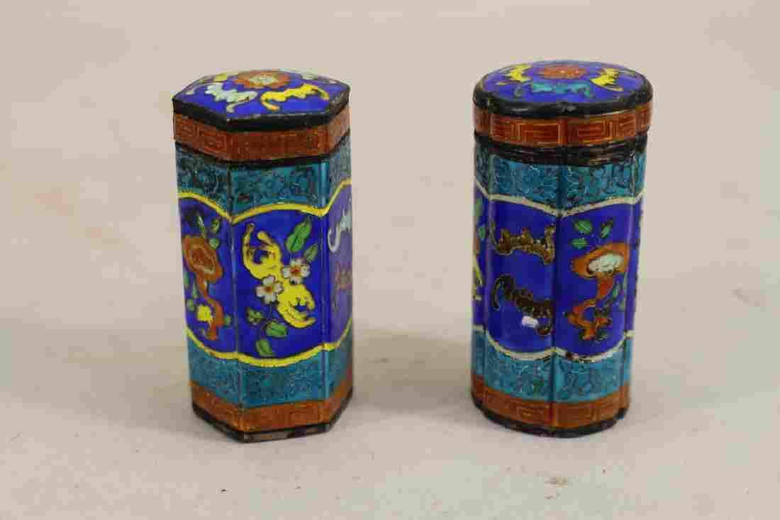 (2) Cloisonne Pill Boxes