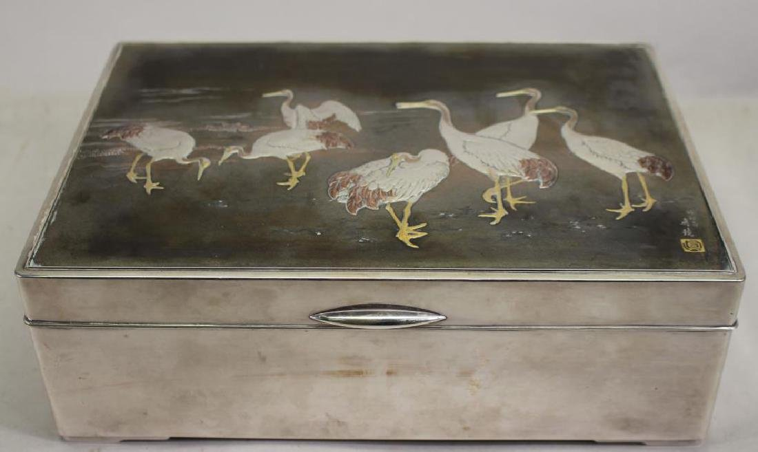 Japanese Meiji Period Silver Box, Gold Egrets
