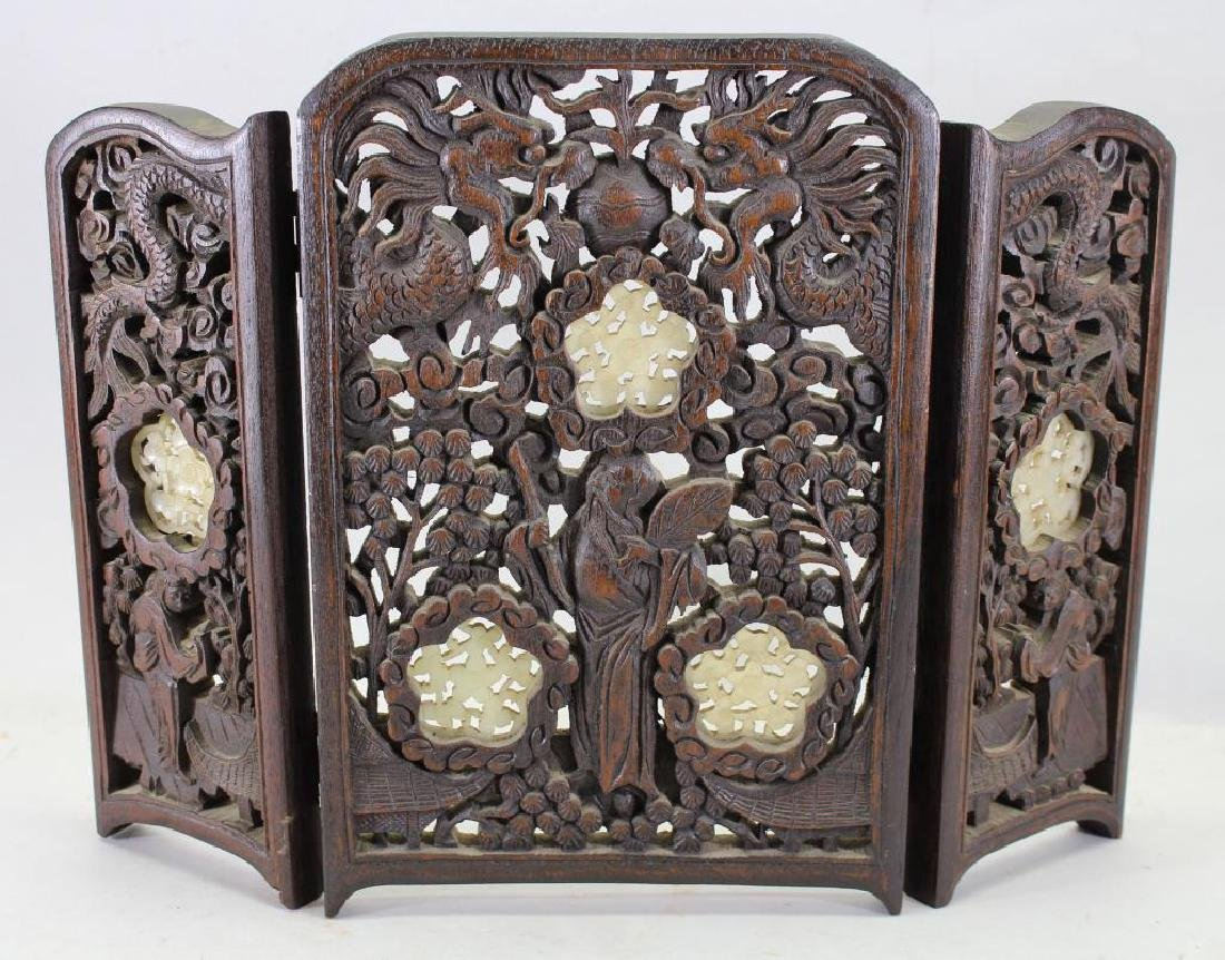 Chinese Carved Wooden/Jade Table Screen