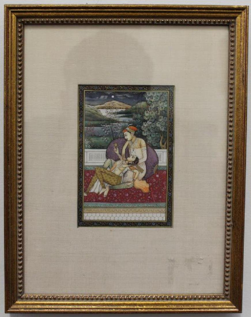 Antique Framed Mughal Painting of Two Women