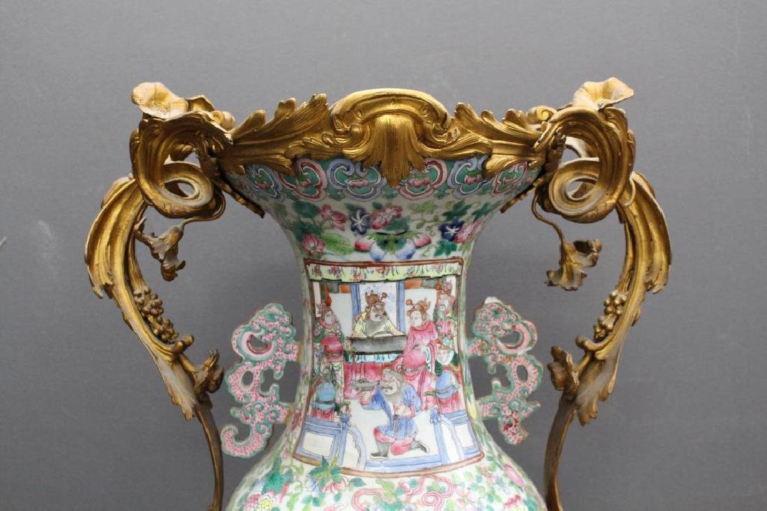 Antique Chinese Figural Rose Medallion Vase, as is - 2