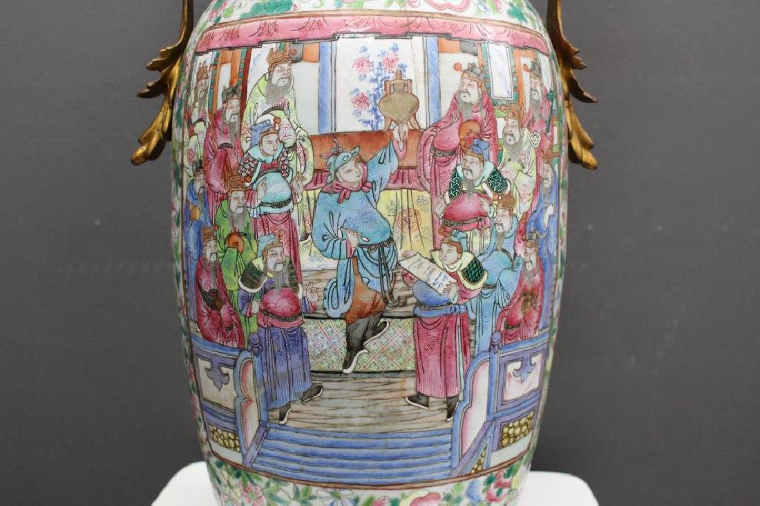 Antique Chinese Figural Rose Medallion Vase, as is - 3