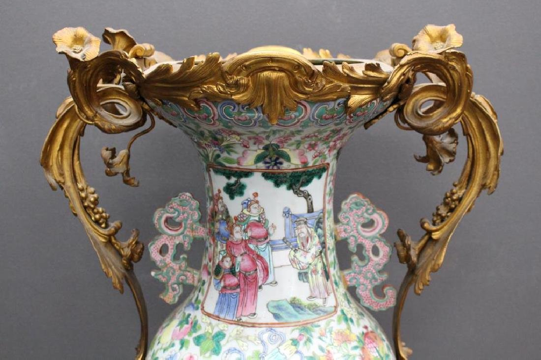 Antique Chinese Figural Rose Medallion Vase, as is - 6