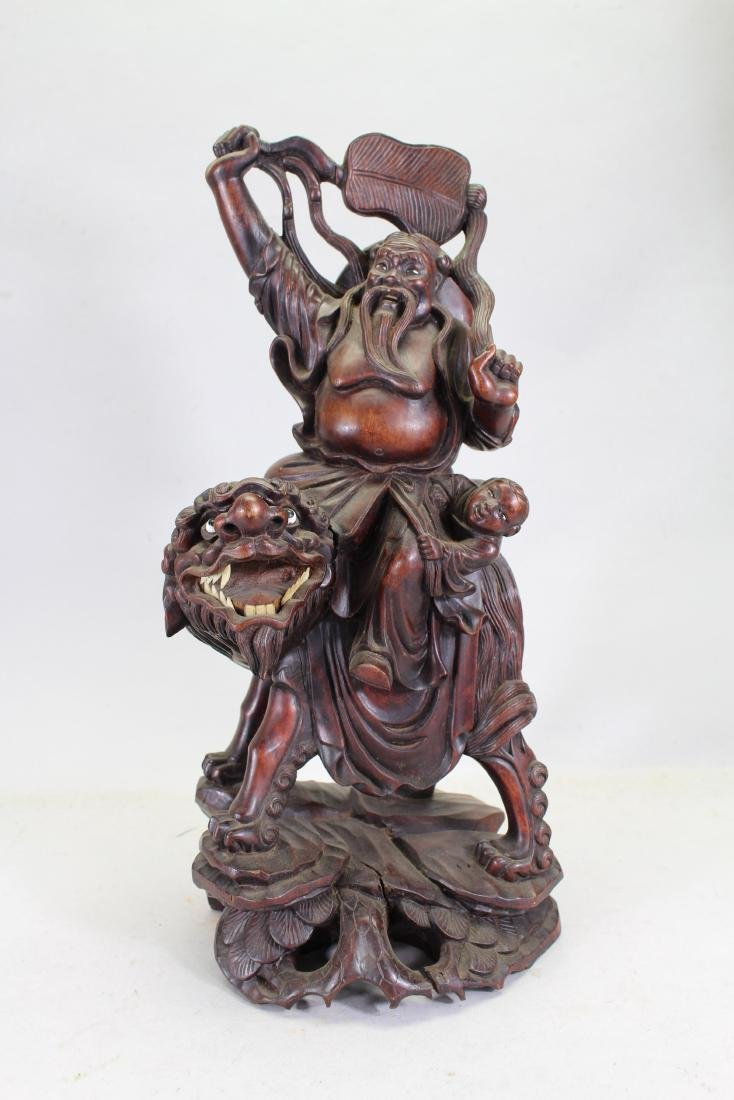 Chinese Carved Hardwood Figural Grouping