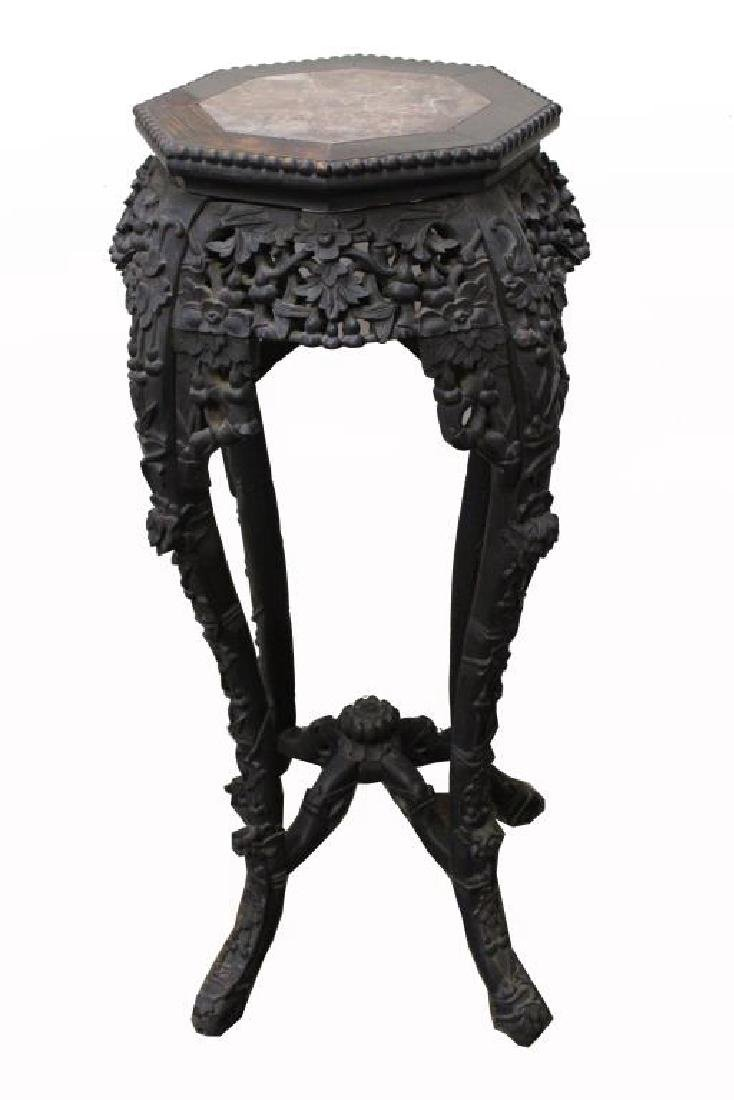 Chinese Carved Table with Marble Inset