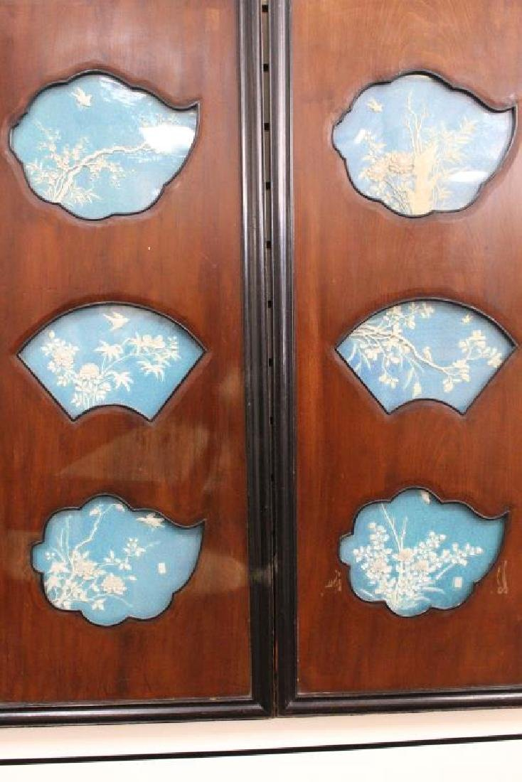 (4) Chinese Panels w/ Porcelain Inserts, Signed - 4