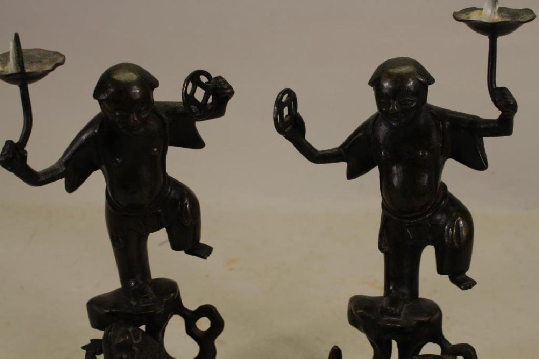 Pair of Antique Chinese Bronze Figures - 2