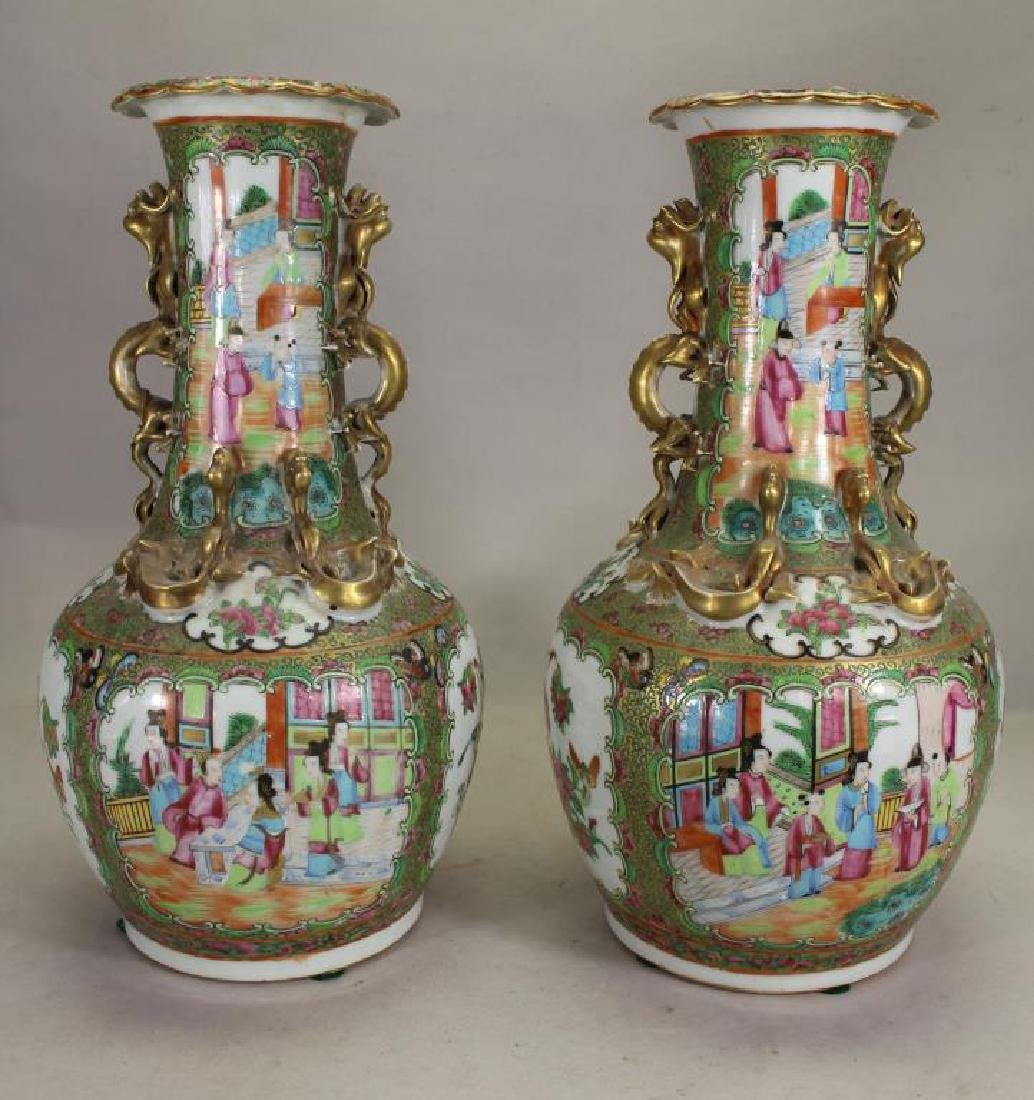 Pair of Fine Chinese Rose Medallion Vases