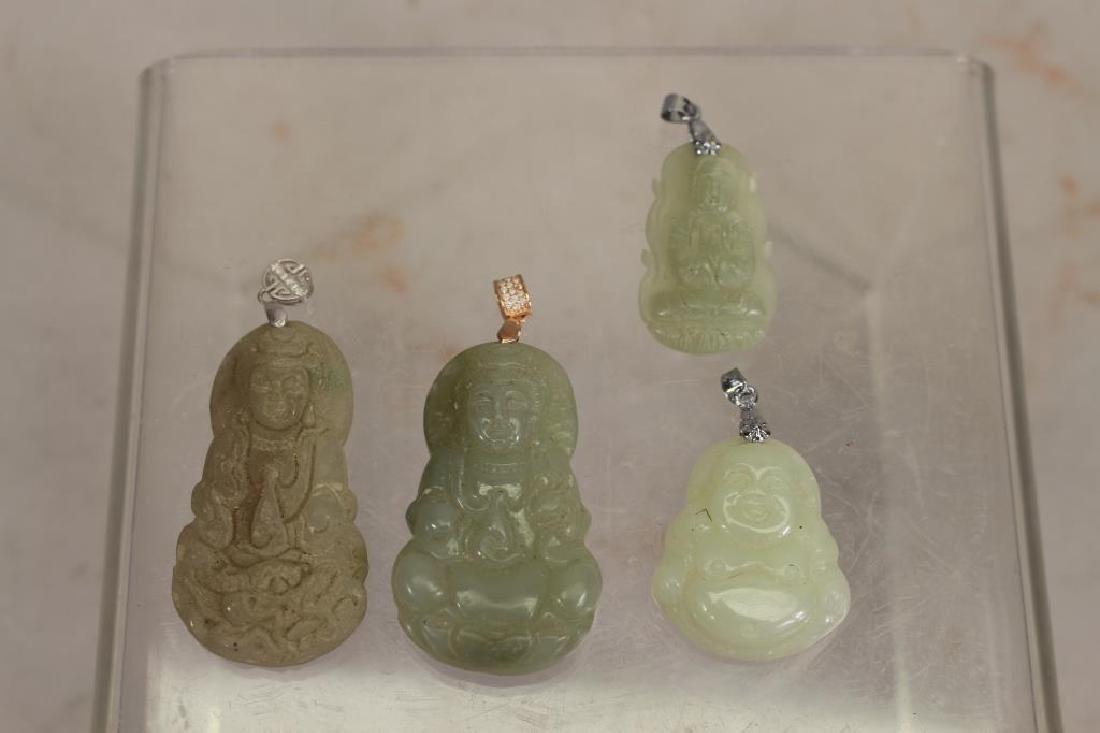 (4) Jade Like Carved Stone Buddha Pendants