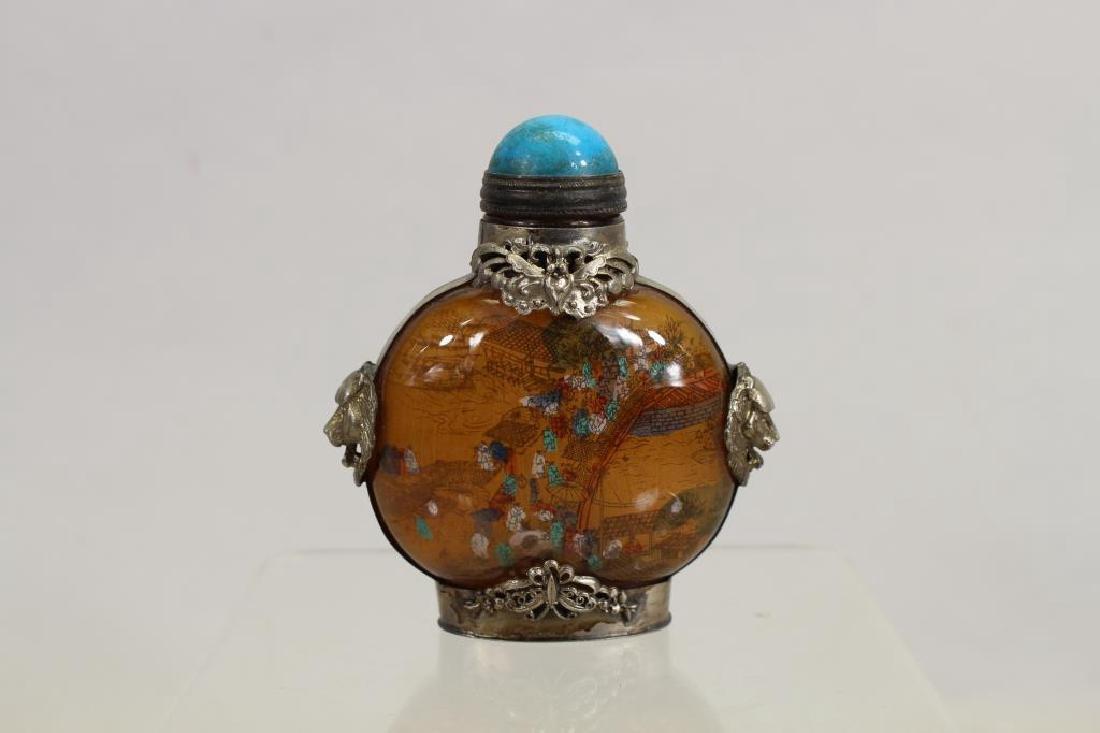 Reverse Painted Snuff Bottle w/ Stopper