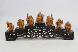 (7) Chinese Wooden Carved Figures on Stand