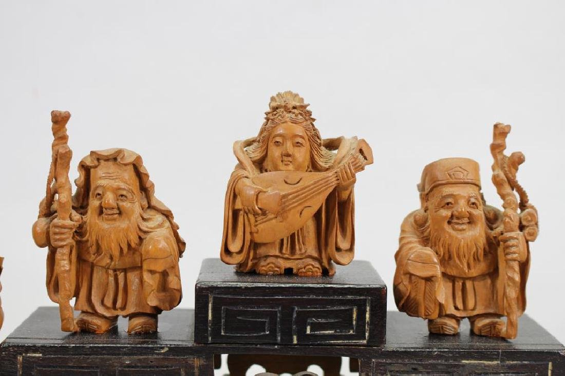 (7) Chinese Wooden Carved Figures on Stand - 3