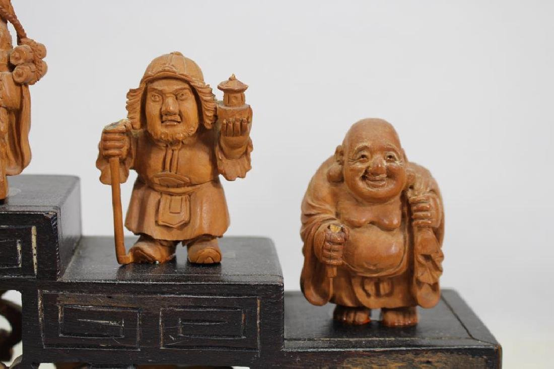 (7) Chinese Wooden Carved Figures on Stand - 4