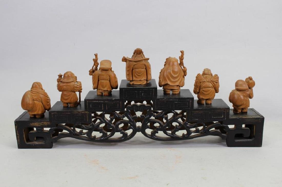 (7) Chinese Wooden Carved Figures on Stand - 5