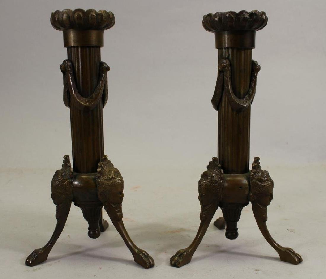 Pair of Footed French Empire Bronze Candlesticks