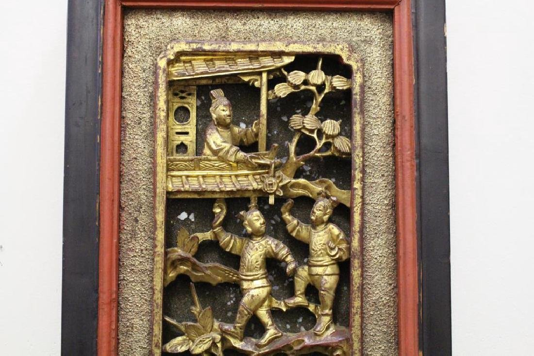 Carved Chinese Figural Architectural Panel - 2