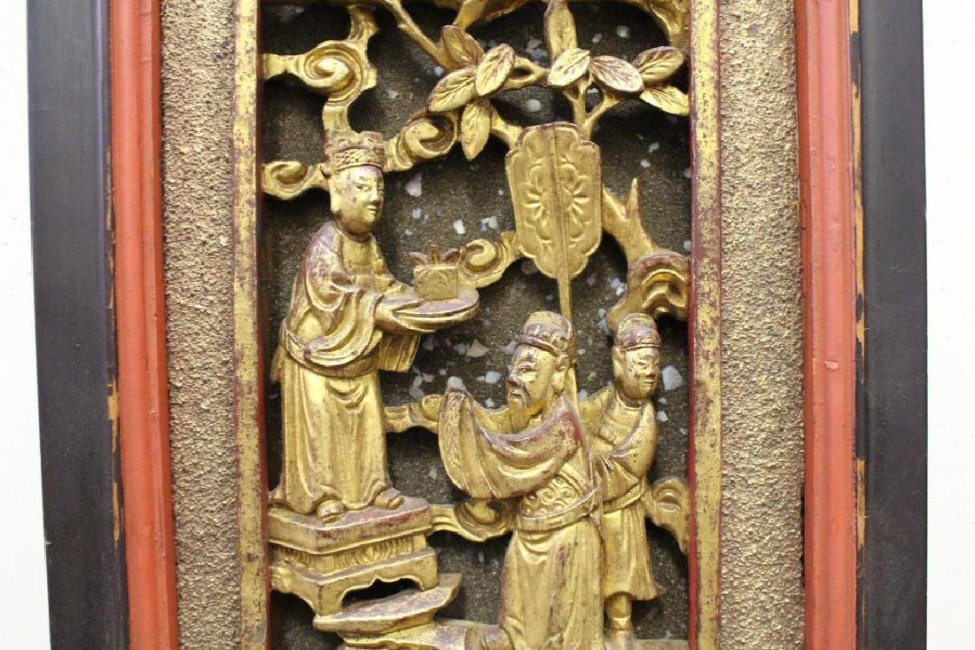 Carved Chinese Figural Architectural Panel - 4
