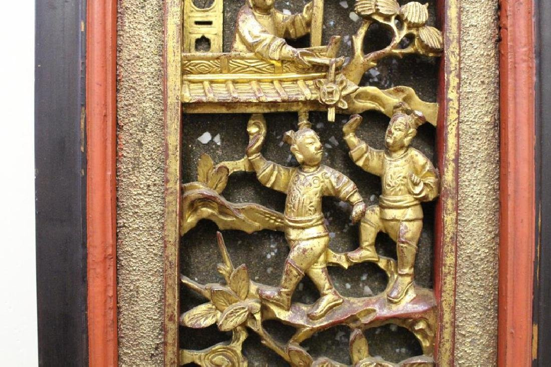 Carved Chinese Figural Architectural Panel - 5