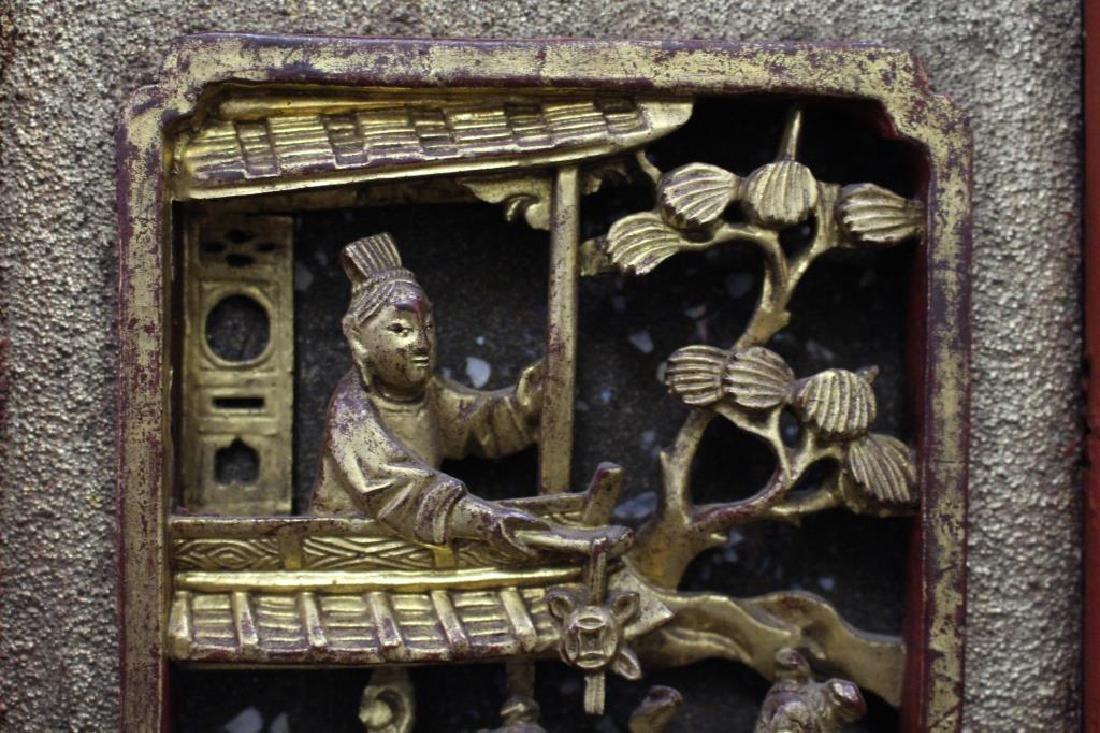 Carved Chinese Figural Architectural Panel - 6