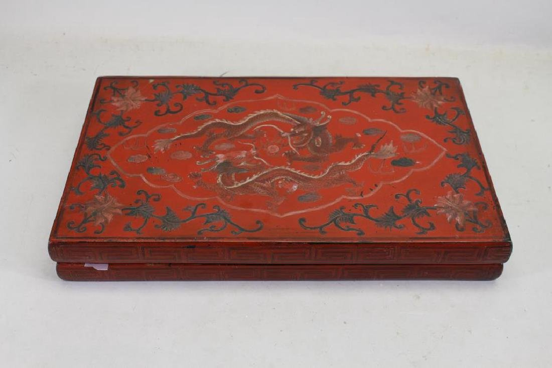 Antique Chinese Lacquered Dragon Box