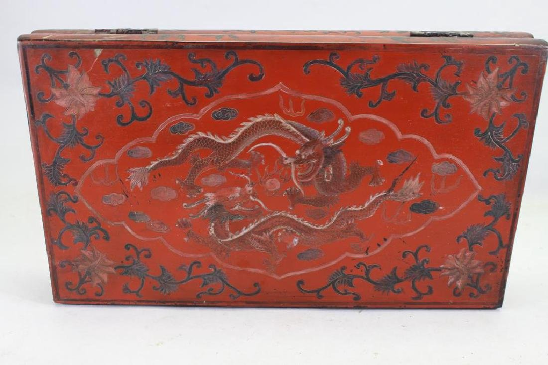Antique Chinese Lacquered Dragon Box - 2