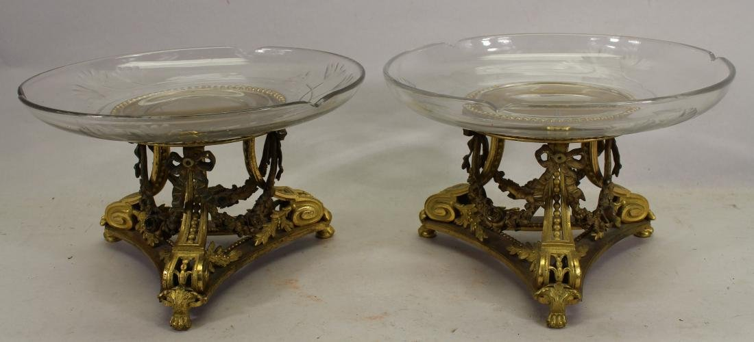 Pair of Signed H. Picard Gilt & Glass Tazzas