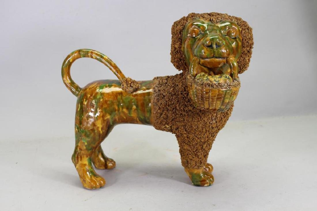 Glazed Terracotta Poodle Figure, Rockingham Style