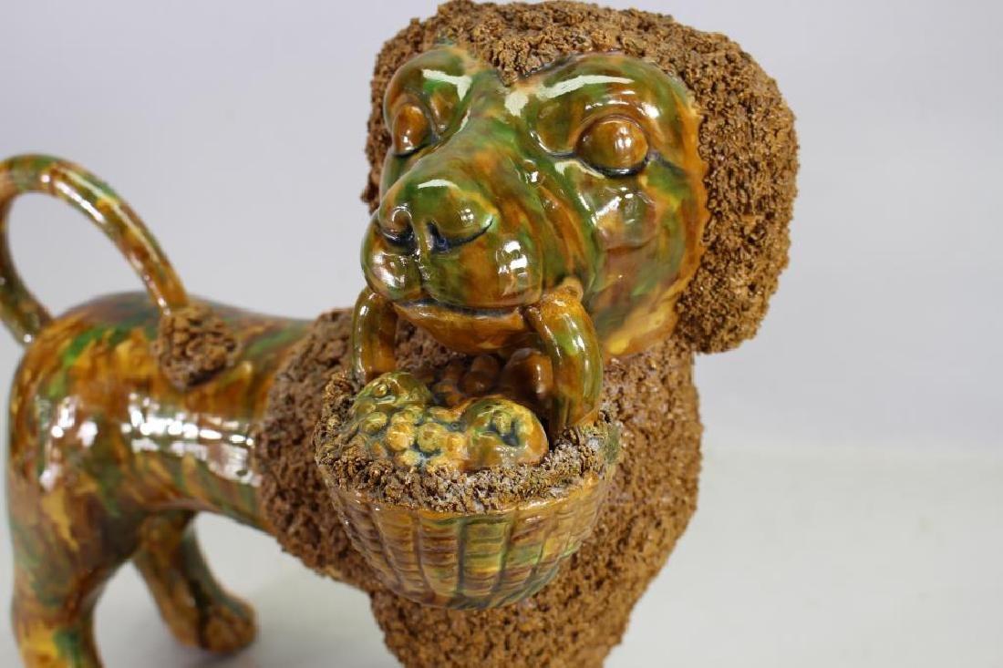 Glazed Terracotta Poodle Figure, Rockingham Style - 2