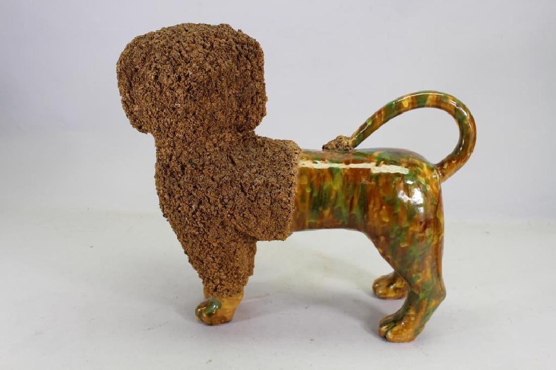 Glazed Terracotta Poodle Figure, Rockingham Style - 3