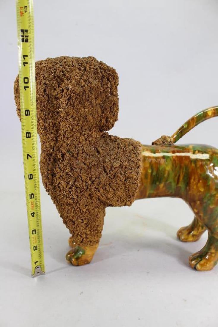 Glazed Terracotta Poodle Figure, Rockingham Style - 4