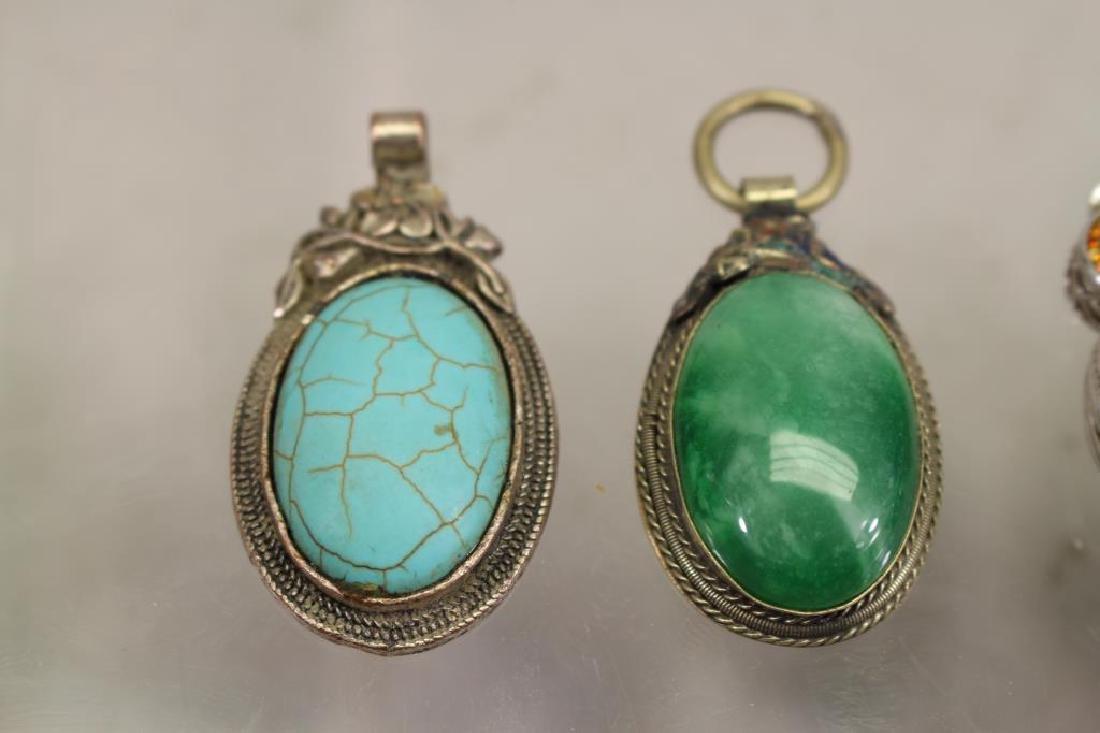 (4) Mixed Stone Jewelry Pendants - 2