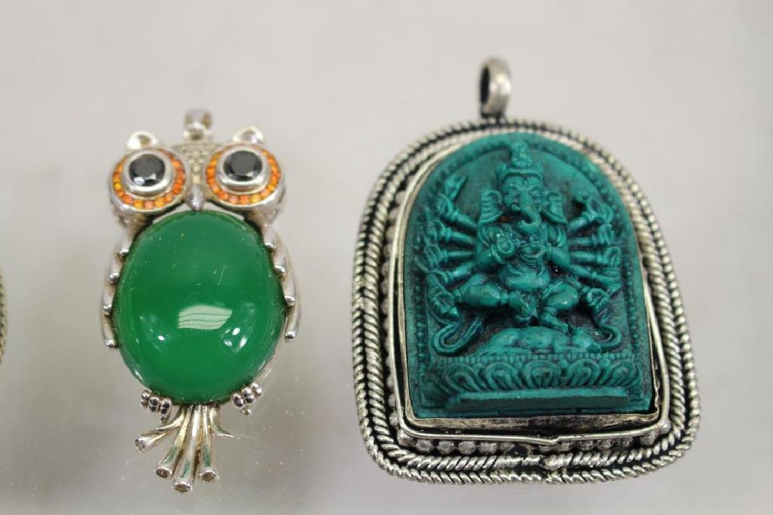 (4) Mixed Stone Jewelry Pendants - 3