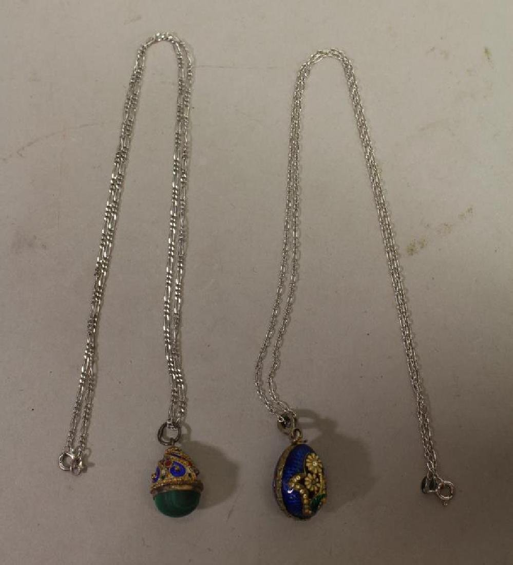 (2) Russian Egg Pendants w/ Sterling Chains