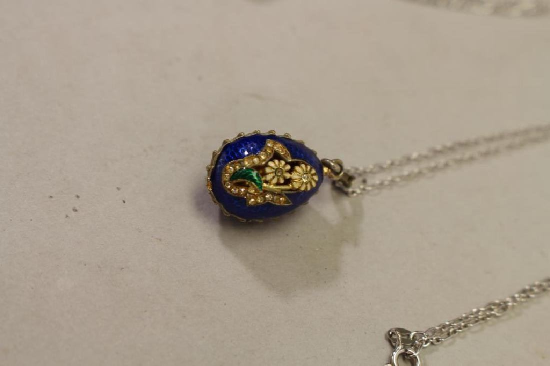 (2) Russian Egg Pendants w/ Sterling Chains - 2
