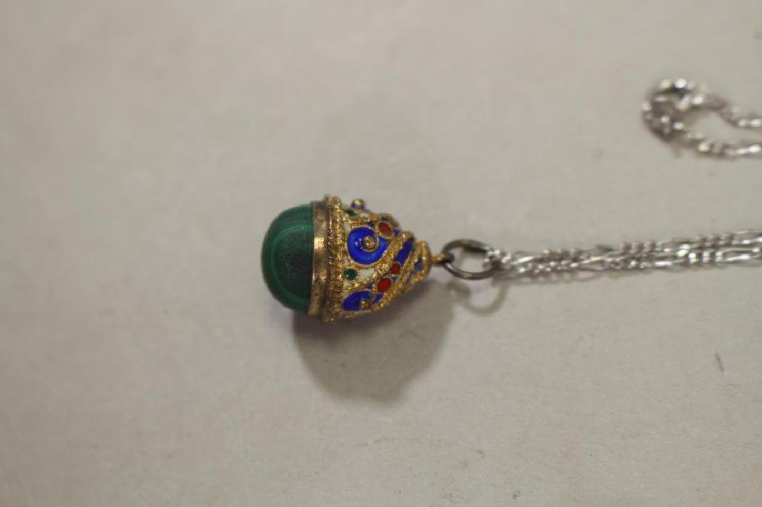 (2) Russian Egg Pendants w/ Sterling Chains - 3