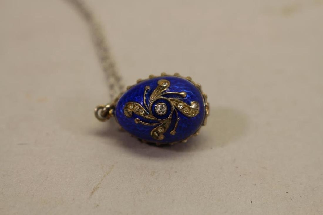 (2) Russian Egg Pendants w/ Sterling Chains - 4