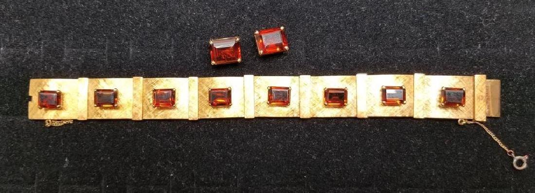 Gold Bracelet w/ Rio Grand Quartz & Earrings Set