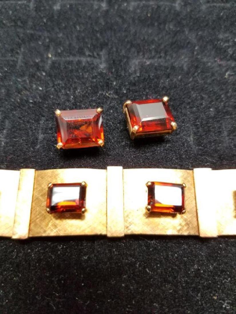Gold Bracelet w/ Rio Grand Quartz & Earrings Set - 2